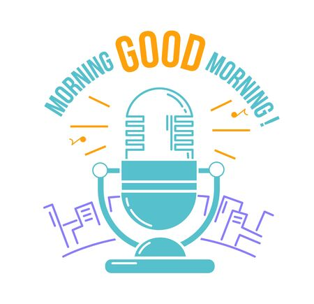 fm: icon Good morning in the form microphone for the radio against the backdrop of the city. Icon in the linear style