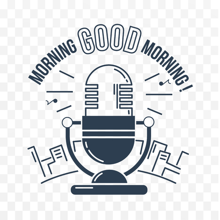 fm: icon Good morning in the form microphone for the radio against the backdrop of the city. vector icon black and white in the linear style