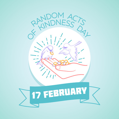 Calendar for each day on February 17. Greeting card. Holiday -  Random Acts of Kindness Day. Icon in the linear style Vettoriali
