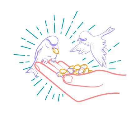 Linear illustration of feeding birds from seeds hand. concept of kindness Illustration
