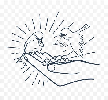 silhouette linéaire de nourrir les oiseaux de la main des graines. concept de gentillesse Vecteurs