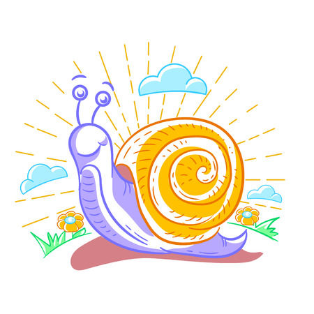 Cartoon illustration of a snail that crawls around the garden . Illustration