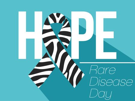 banner, poster Zebra-print ribbon - symbol of rare-disease awareness. Vector illustration of awareness ribon for World Day of rare disease. Illustration