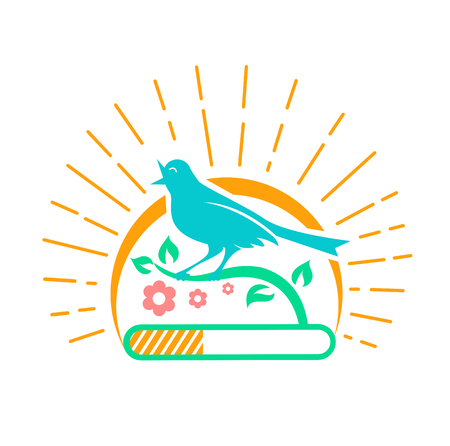 Illustration downloads in the form of a singing bird on a background of the sun with rays