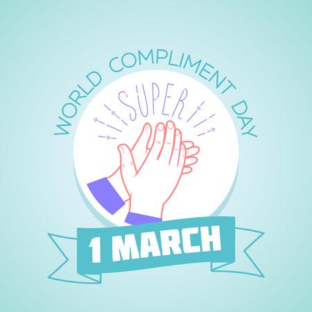 3 월 1 일 인사말 카드에 매일 일정입니다. 휴일 - 칭찬의 날. 선형 스타일 아이콘