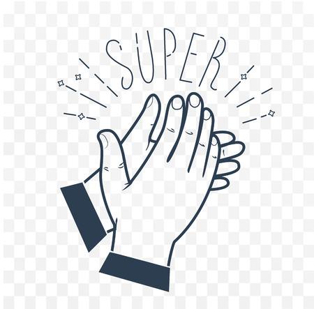 Icono aplaudir manos con el texto Super Icono en el estilo lineal. ilustración en blanco y negro Foto de archivo - 72124955