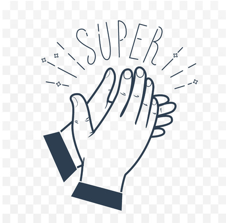 Icon clapping hands with the text Super Icon in the linear style. black and white illustration Illustration