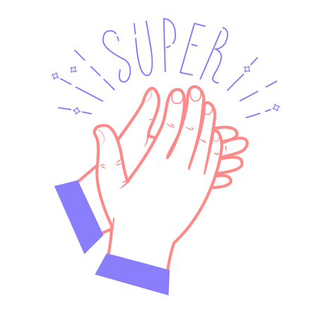 Icon clapping hands with the text Super Icon in the linear style Ilustração