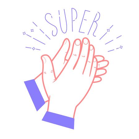 Icona che applaude le mani con il testo Icona Super in stile lineare Archivio Fotografico - 72124948