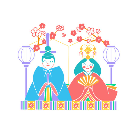 Icons Japanese emperor and empress dolls Icon in the linear style Illustration