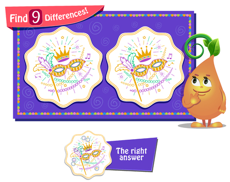 find: visual game for children and adults. Task to find 9 differences . masquerade festival Illustration