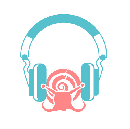 concept  the destruction of the of hearing, in the form of a snail between headphones