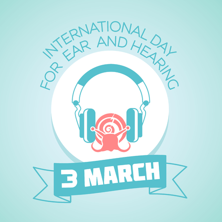 hearing protection: Calendar for each day on March  3. Greeting card. Holiday - International Day for Ear and Hearing. Icon in the linear style