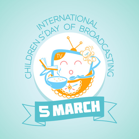 Calendar for each day on March 5. Greeting card. Holiday - International Childrens Day of Broadcasting. Icon in the linear style