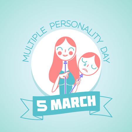 Calendar for each day on March5. Greeting card. Holiday - Multiple Personality Day. Icon in the linear style