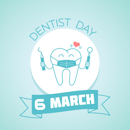 Greeting card. Holiday - Dentist Day. Icon in the linear style