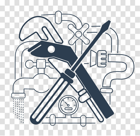 Icon Plumbing in the linear style. Modern line style logo for repair company or plumbing service. Black and white icon