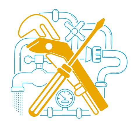 Icon Plumbing in the linear style. Modern line style logo for repair company or plumbing service