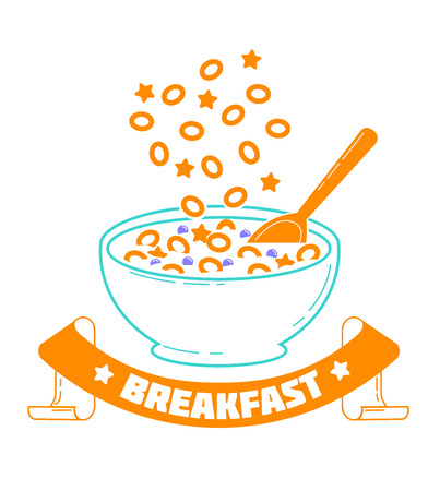 Icon Cereal Day, breakfast, good morning. Icon in the linear style.