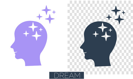 concept of realization of a dream, thoughts in the form of human silhouette with stars