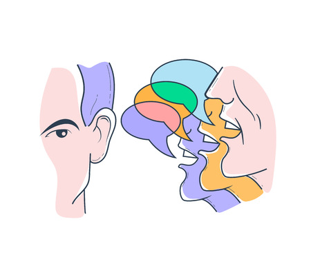 concept of listening to different opinions in the form of a businessman   analyzes the situation Stockfoto