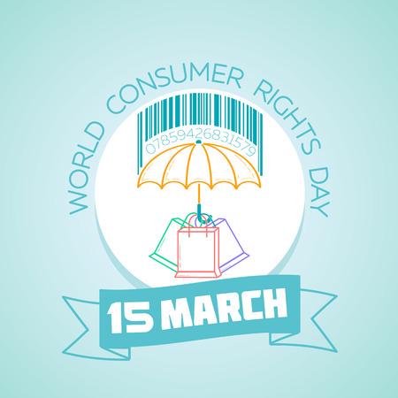 Kalender voor elke dag op 15 maart. Wenskaart. Vakantie - Werelddag voor consumentenrechten. Pictogram in de lineaire stijl