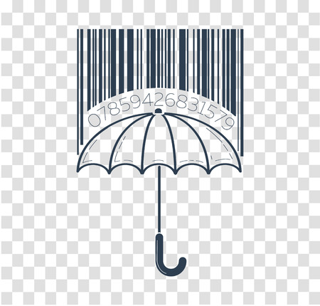 Icon barcode about shopping in stores form of umbrella and barcode. Icon in the linear style Illustration
