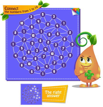 Visual Game for children. Task: Connect the numbers from 1 to 10