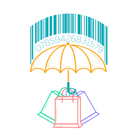 concept of consumer protection, in the form of an umbrella sheltering packages from the rain with bar codes. Icon in the linear style Vektorové ilustrace