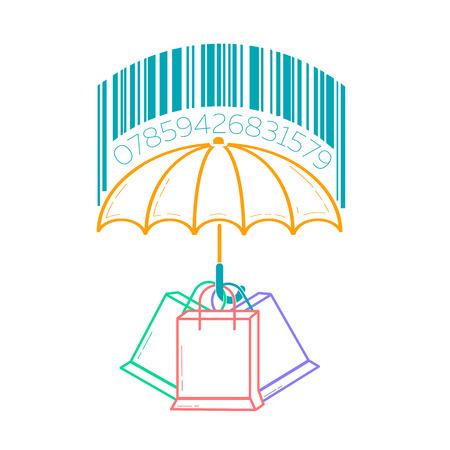concetto di protezione del consumatore, sotto forma di ombrello che protegge pacchetti dalla pioggia con codici a barre. Icona nello stile lineare Vettoriali