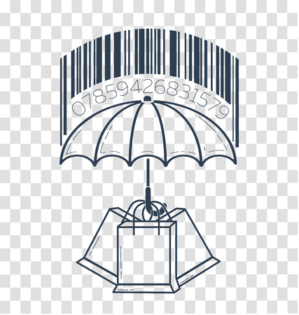 icon barcode about shopping in stores. Icon in the linear style