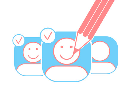 furtherance: concept of a saport in the form of smiles on avatars created with a pencil. Icon in the linear style