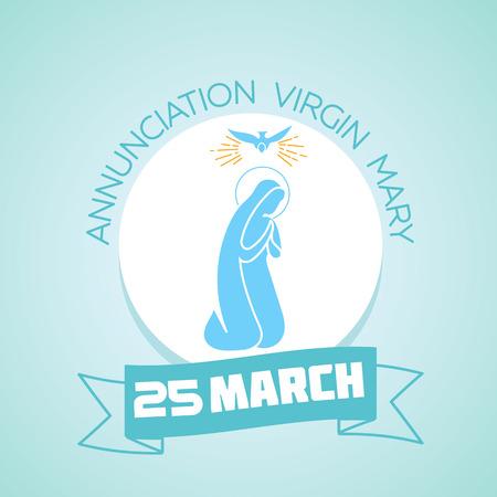 Calendario para cada día el 25 de marzo. Tarjeta de felicitación. Vacaciones - Anunciación de la Virgen María. Ilustración de vector