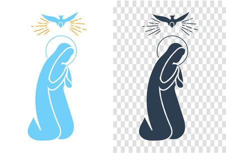 アイコン休日 - 受胎告知の聖母マリア。直線的なスタイルのアイコン  イラスト・ベクター素材