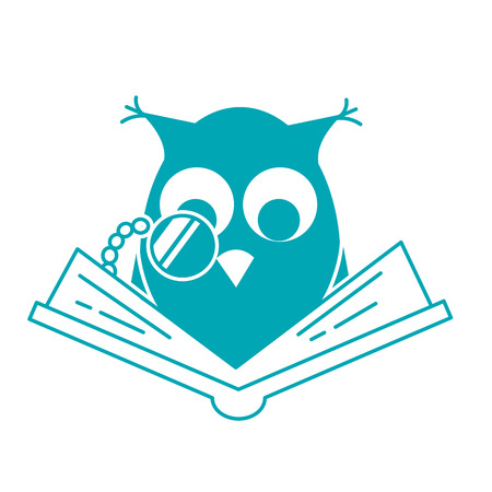 concept of loving reading in the form of an owl reading book. Icon in linear style Illustration