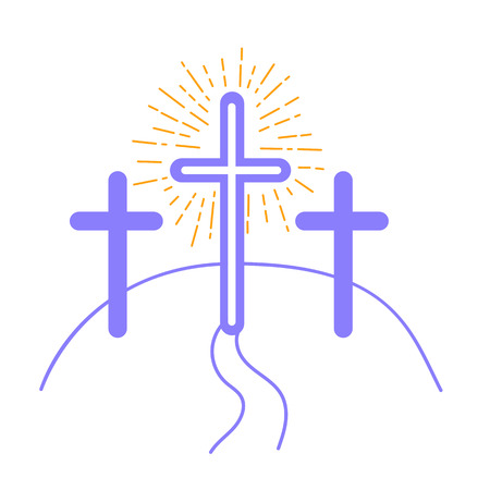 concept of the crucifixion in the form of 3 crosses and the way of salvationHoliday - Good Friday. Icon in the linear style Illustration