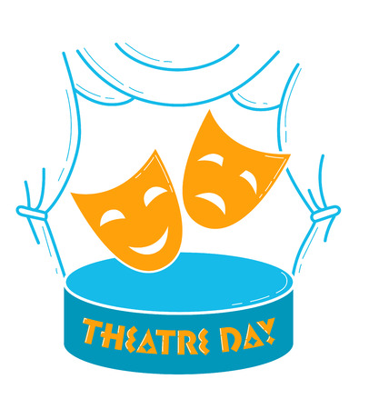 Greeting card. Holiday -  World Theatre Day. Icon in the linear style Illustration
