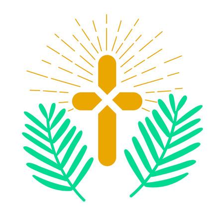 Icona - Domenica delle Palme. Icona in stile lineare Vettoriali