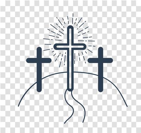 concept de la crucifixion sous la forme de 3 croix et la voie du salut Vacances - Vendredi saint. Icône dans le style linéaire