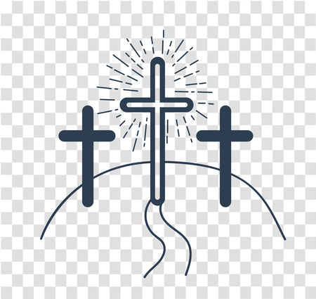 concept of the crucifixion in the form of 3 crosses and the way of salvationHoliday - Good Friday. Icon in the linear style Ilustrace