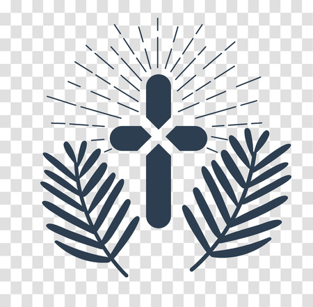 palm sunday: Icon holiday - palm Sunday. silhouette icon in the linear style