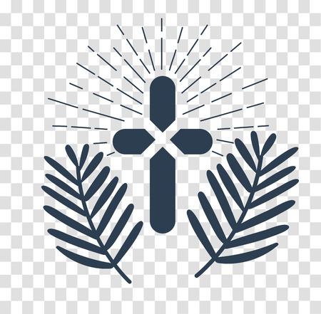 sole: Icona - Domenica delle Palme. silhouette icona nella stile lineare Vettoriali