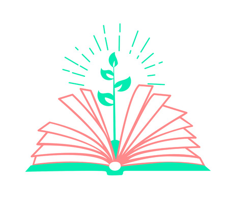 concept of education, the acquisition of knowledge in the school, the institute in the form of a book and a sprout.  education eco Icon in the linear style. Day of environmental knowledge Illustration