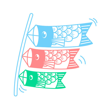 Icon of kites in the form of fish on the holiday - Childrens Day in Japan . Icon in the linear style Illustration