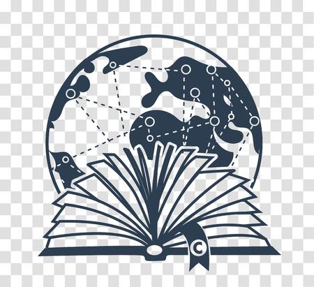 Los libros conceptuales y el día de los derechos de autor en la forma de un libro abierto con un símbolo de copyright en el fondo de la tierra con las marcas. icono de silueta en el estilo lineal