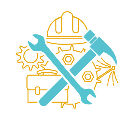 Icon of tools on labor Day. Icon in the linear style