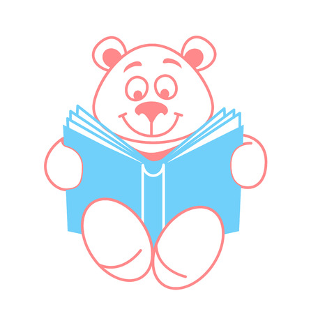 Concept of reading, in the form of a teddy bear with a book. Icon in the linear style