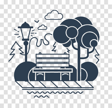 Icon of a calm park with a bench on the background of trees.  silhouette icon in the linear style Illustration