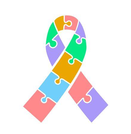 nastro adesivo sulla giornata di consapevolezza sull'autismo. Icona in stile piatto