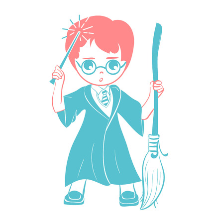 icon of a wizard boy with a magic wand and a broom . Icon in the linear style Illustration